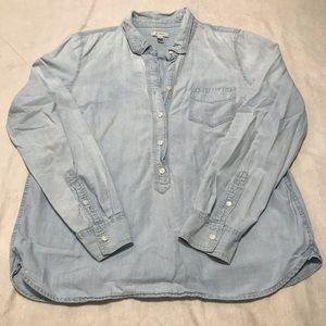 J Crew Chambray 3/4 Button Down Shirt